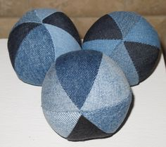Upcycle jeans into these cute balls.  They would be even better if there were some top stitching and belt loops.