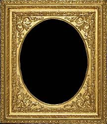Roman oval antique picture frame carved and gilded - 18th century