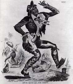 """Thomas Dartmouth """"Daddy"""" Rice, a (racist) white man, was one of the first performers to wear blackface makeup -- his skin was darkened with burnt cork. His Jim Crow song-and-dance routine was an astounding success that took him from Louisville to Cincinnati to Pittsburgh to Philadelphia and finally to New York in 1832."""