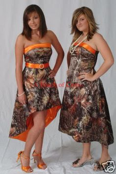 camo wedding dress if i go to a dance with a dressit will look like this Camo Bridesmaid Dresses, Camouflage Wedding Dresses, Prom Dresses, Orange Bridesmaids, Bridesmade Dresses, Bridesmaid Ideas, Maid Of Honour Dresses, Maid Of Honor, Unique Formal Dresses