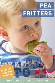 Pea fritters are a great first finger food for toddlers and baby led weaning Delicious hot or cold these kid friendly vegetable fritters are so versatile Enjoy them for b. First Finger Foods, Finger Foods For Kids, Big Finger, Baby Led Weaning, Toddler Meals, Kids Meals, Toddler Food, Pea Fritters, Fingerfood Baby