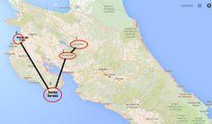 2 week costa rica itinerary map: Arenal, Monteverde, Santa Teresa, Playas del Coco