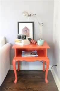 Painted end table - like the neutrals with the pop of orange!