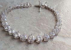 Sterling Silver Bracelet Clear CZ Tennis Bracelet Graduated Vintage V0197 by cutterstone on Etsy
