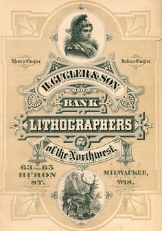 Ad for H. Gugler & Son, Bank Lithographers, Milwaukee, 1879, from The Bankers' Directory of the United States and Canada.