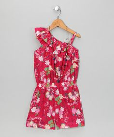 Take a look at this Pink & Blue Floral Romper & Necklace - Toddler & Girls by Yo Baby on #zulily today!