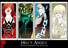 Good Omens: 4 Horsemen by Shilloshilloh on deviantART Terry Pratchett Discworld, Good Omens Book, Horsemen Of The Apocalypse, American Gods, Wallpaper Size, Neil Gaiman, Angels And Demons, Book Fandoms, Book Nerd