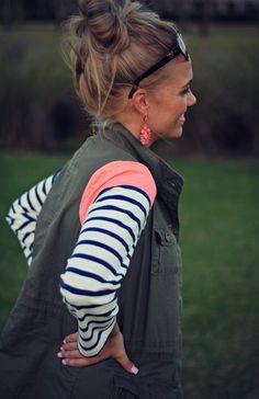 Stripes + Military Vest