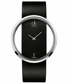 Calvin Klein Watch, Women's Swiss Glam Black Leather Strap 42mm K9423107 - Women's Watches - Jewelry & Watches - Macy's