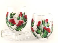 Painted Stemless CRYSTAL Wine Glasses Ready by HandPaintedPetals