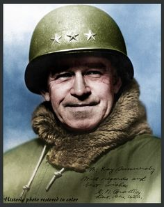 Omar Bradley was born on February 12, 1893, in Clark, Missouri. In 1915, he graduated from West Point. Under General George S. Patton, he captured Bizerte, Tunisia in 1943, which led to the surrender of more than 250,000 Axis troops. As a commander in World War II, he planned and participated in the Normandy Invasion. In 1949, he was named the first chairman of the Joint Chiefs of Staff. Follow me on facebook https://www.facebook.com/Historicphotorestoredincolor/timeline
