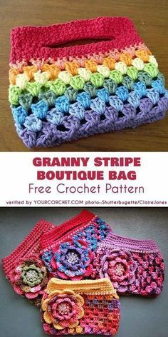 Crochet bags purses 646336983998043149 - Rainbow Granny Stripe Boutique Bag Free Crochet Pattern Source by jouanneaudpatricia Crochet Diy, Crochet Gifts, Crochet Ideas, Free Crochet Bag, Crochet Handbags, Crochet Purses, Point Granny Au Crochet, Bag Pattern Free, Granny Pattern