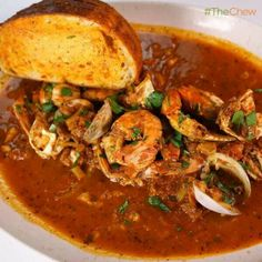 Guy Fieri's Nor Cal Cioppino Recipe by Guy Fieri - The Chew Fish Dishes, Seafood Dishes, Seafood Recipes, Soup Recipes, Seafood Stew, Seafood Cioppino, Main Dishes, Shellfish Recipes, Mexican Dishes