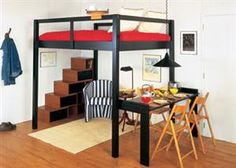 Loft bed design. I love the storage stairs and the open space below. Nice clean lines, and it should be possible to build with framing lumber.