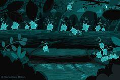 Little Spirit Forest Bears Cross the Fallen Tree Bridge - Sebastien Millon / Art & Illustration