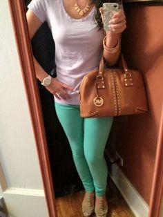 Mint Jeans+Lavander Top+MK Bag+Watch= Style Baby