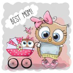 Лучшая мама поздравительных открыток с милый мультфильм совы и детские коляски