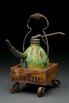 "green - teapot - Joan Rasmussen -  ""junkman's teapot""."