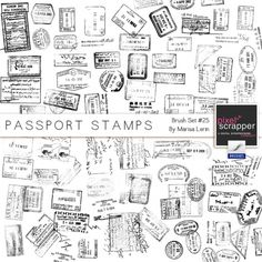 I want this kit! Brush Kit #25 - Passport Stamps  http://www.pixelscrapper.com/marisa-lerin/kits/brush-kit-25-passport-stamps-travel-black