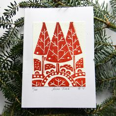 A Polar Bear's Tale: Original lino print Christmas trees cards Christmas Blocks, Christmas Tree Cards, Xmas Cards, Christmas Art, Handmade Christmas, Stamp Printing, Screen Printing, Linoprint, Tampons