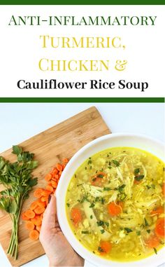 Chicken and Cauliflower Rice Soup Healing Turmeric Chicken and Cauliflower Rice Soup.Healing Turmeric Chicken and Cauliflower Rice Soup. Paleo Soup, Healthy Soup, Paleo Diet, Paleo Recipes, Soup Recipes, Cooking Recipes, Low Acid Recipes, Acid Reflux Recipes, Lunch Recipes