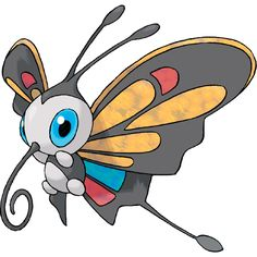 Beautifly - 267 - Vibrantly patterned wings are its prominent feature. It sucks sweet flower nectar with its long mouth. It has an aggressive nature. It stabs prey with its long, narrow mouth to drain the prey's fluids. @PokeMasters