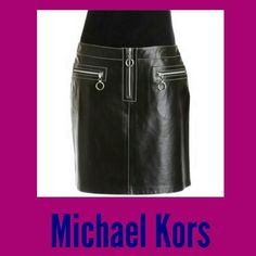 * Michael Kors * Leather Skirt * 100% Authentic Michael Kors Leather skirt with a zip front and zipper pockets. Very stylish! This skirt is pre-owned but it's in great condition.   *This, like many of my items came from the wardrobe department at a major TV/Movie studio. They are all authentic and new or like new condition. MICHAEL Michael Kors Skirts