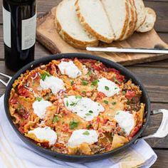Easy Skillet Lasagna with Italian Sausage.