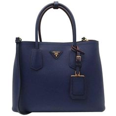 Preowned Prada Saffiano Cuir Leather Double Bag Tote Blue (€1.820) ❤ liked on Polyvore featuring bags, handbags, tote bags, blue, totes, leather handbags, leather handbag tote, blue leather tote, blue tote bags and leather tote bags