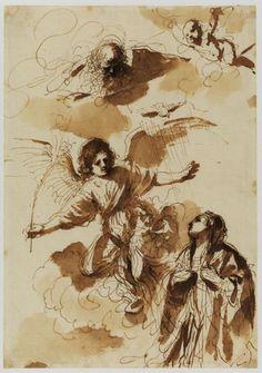 Anunciación, dibujo de Guercino (Barbieri, Giovanni Francesco) (1591-1666, Italy)