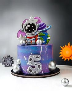 2nd Birthday Boys, Baby Birthday Cakes, Patisserie Design, Space Party, Cakes For Boys, Cakes And More, Themed Cakes, Solar System, Cake Designs