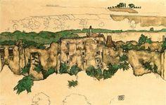 Landscape (ruin Weitenegg), 1916, Egon Schiele. (1890 - 1918)