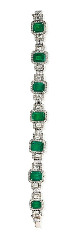 An emerald and diamond bracelet  The articulated bracelet formed as a graduated series of seven rectangular step-cut emeralds, weighing 16.36 carats in total, with an emerald-cut diamond to each side, all with brilliant-cut diamond surrounds, and spaced by pairs of brilliant-cut diamonds, the diamonds estimated to weigh approximately 10.90 carats in total, length 18.0cm