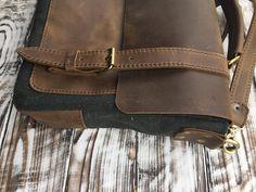 Canvas Leather Messenger Bag Leather Briefcase Leather   Etsy Briefcase For Men, Leather Briefcase, Leather Satchel, Leather Handbags, Leather Office Bags, Messenger Bag Men, Casual Bags, Canvas Leather, Leather Men