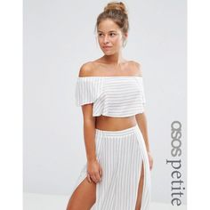 ASOS PETITE Stripe Frill Beach Top Co-ord ($34) ❤ liked on Polyvore featuring tops, multi, petite, stripe crop top, asos, off shoulder crop top, off shoulder tops and flounce crop top