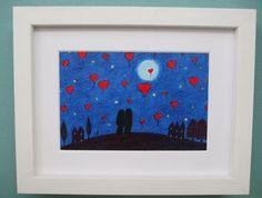 #Valentine #Heart #Picture #Framed: Valentine #Art, #Couple Hearts#Moon Valentine #Gift £15.00