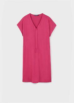 Teksturowana sukienka ze sznurkiem