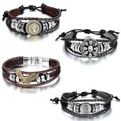 Aroncent 4pcs Vintage Metal Handmade Infinity Silver Wing Leather Bracelet Wristband Adjustable Wrap Cuff Wristband * Read more  at the image link. (Note:Amazon affiliate link)