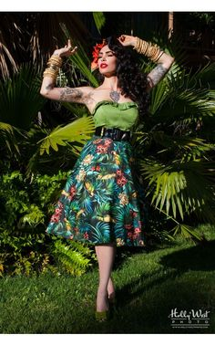 Pinup Couture- Doris Skirt in Parrot Print | Pinup Girl Clothing