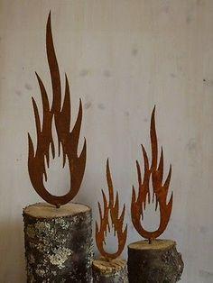 Rost Flamme Metall Weihnachten Garten Dekoration Edelrost Beetstecker 3 Größen in Garten & Terrasse, Dekoration, Gartenfiguren & -skulpturen | eBay!