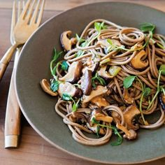 Pea Shoots and Shiitake Mushroom with Soba Noodles | Williams Sonoma #BuckwheatRecipes-Mushrooms