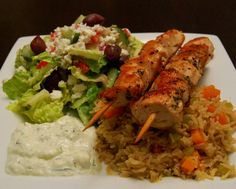 cheese yes please: Greek Chicken Kabobs with Rice Pilaf, Salad & Homemade Tzatziki