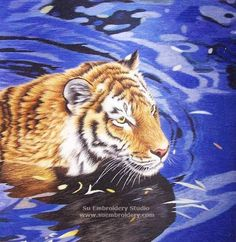 Tiger in Water, hand embroidered silk art, Chinese Suzhou hand embroidery painting, silk thread painting, Su Embroidery Studio