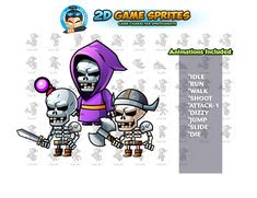 Skull Warriors Game sprites by DionArtworks on 2d Character Animation, Shooting Games, Game Assets, Sprites, Character Illustration, Warriors, Skull, Shooter Games, Fairies