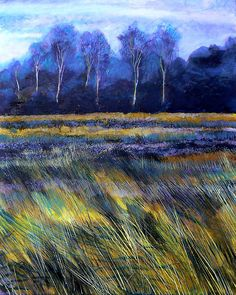 """Golden Fields"" painting by Richard Sunderland Watercolor Landscape, Landscape Art, Landscape Paintings, Watercolor Paintings, Watercolour, Art Et Nature, Inspiration Art, Art Mural, Pastel Art"
