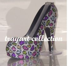 Rainbow Leopard High Heel Shoe TAPE DISPENSER Stiletto Platform with Swarovski crystals- office supplies - trayart collection. $29.50, via Etsy.