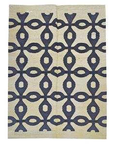 "5'3"" x 7'1"" Flat weave rug; natural with Open Bulls Eye Slate-blue pattern $1050. #DH565"