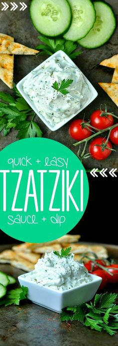 Quick + Easy Tzatziki Sauce + Dip Recipe. I want to spread this on EVERYTHING!