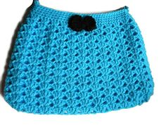 Crochet Turquoise Aqua Hobo Bag Fabric Lined Purse by jwhizcrochet Crochet Clutch, Aqua, Turquoise, Hobo Bag, Purses And Bags, I Shop, Bows, Trending Outfits, Unique Jewelry