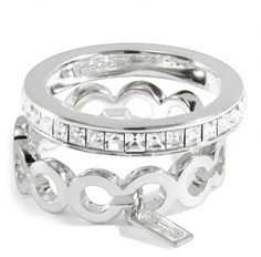 Coach Sterling Op Art Baguette Stacking Ring